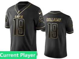 Mens Nfl Detroit Lions Current Player Black Retro Golden Edition Vapor Untouchable Limited Jerseys