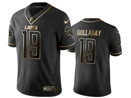 Mens Nfl Detroit Lions #19 Kenny Golladay Black Retro Golden Edition Vapor Untouchable Limited Jerseys