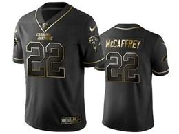 Mens Nfl Carolina Panthers #22 Christian Mccaffrey Black Retro Golden Edition Vapor Untouchable Limited Jerseys