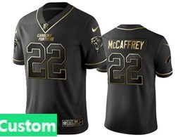 Mens Nfl Carolina Panthers Custom Made Black Retro Golden Edition Vapor Untouchable Limited Jerseys