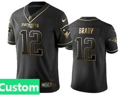 Mens Nfl New England Patriots Custom Made Black Retro Golden Edition Vapor Untouchable Limited Jerseys
