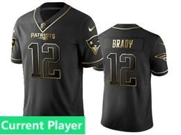 Mens Nfl New England Patriots Current Player Black Retro Golden Edition Vapor Untouchable Limited Jerseys