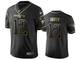 Mens New England Patriots #12 Tom Brady Black Retro Golden Edition Vapor Untouchable Limited Jerseys