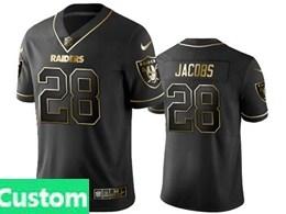 Mens Nfl Oakland Raiders Custom Made Black Retro Golden Edition Vapor Untouchable Limited Jerseys