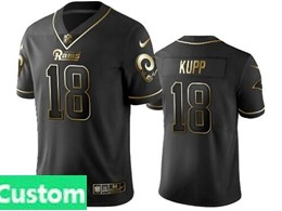 Mens Nfl Los Angeles Rams Custom Made Black Retro Golden Edition Vapor Untouchable Limited Jerseys
