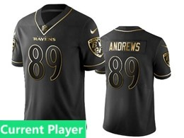 Mens Nfl Baltimore Ravens Current Player Black Retro Golden Edition Vapor Untouchable Limited Jerseys