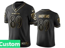 Mens Nfl Baltimore Ravens Custom Made Black Retro Golden Edition Vapor Untouchable Limited Jerseys