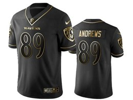 Mens Nfl Baltimore Ravens #89 Mark Andrews Black Retro Golden Edition Vapor Untouchable Limited Jerseys