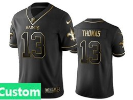 Mens Nfl New Orleans Saints Custom Made Black Retro Golden Edition Vapor Untouchable Limited Jerseys