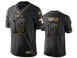 Mens Nfl New Orleans Saints #13 Michael Thomas Black Retro Golden Edition Vapor Untouchable Limited Jerseys