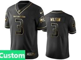 Mens Nfl Seattle Seahawks Custom Made Black Retro Golden Edition Vapor Untouchable Limited Jerseys