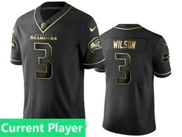 Mens Nfl Seattle Seahawks Current Player Black Retro Golden Edition Vapor Untouchable Limited Jerseys