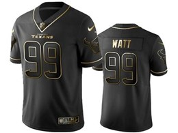 Mens Nfl Houston Texans #99 Jj Watt Black Retro Golden Edition Vapor Untouchable Limited Jerseys