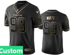 Mens Nfl Houston Texans Custom Made Black Retro Golden Edition Vapor Untouchable Limited Jerseys