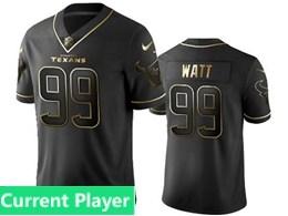 Mens Nfl Houston Texans Current Player Black Retro Golden Edition Vapor Untouchable Limited Jerseys
