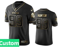 Mens Nfl Minnesota Vikings Custom Made Black Retro Golden Edition Vapor Untouchable Limited Jerseys