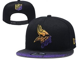 Mens Nfl Minnesota Vikings Black Snapback Adjustable Hats