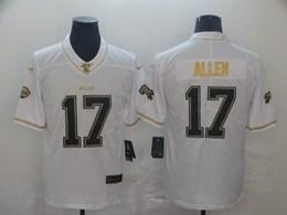 Mens Nfl Buffalo Bills #17 Josh Allen White Golden 100th Vapor Untouchable Limited Jersey