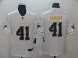 Mens Nfl New Orleans Saints #41 Alvin Kamara White Golden 100th Vapor Untouchable Limited Jersey