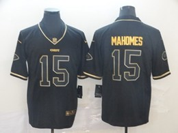 Mens Nfl Kansas City Chiefs #15 Patrick Mahomes Black Retro Golden Edition Vapor Untouchable Limited Jerseys