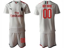 Mens 19-20 Soccer Ac Milan Club ( Custom Made ) White Away Short Sleeve Suit Jersey