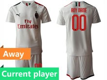 Mens 19-20 Soccer Ac Milan Club Current Player White Away Short Sleeve Suit Jersey