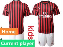 Mens 19-20 Soccer Ac Milan Club Current Player Red Black Stripe  Home Short Sleeve Suit Jersey
