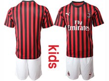 Mens 19-20 Soccer Ac Milan Club ( Custom Made ) Red Black Stripe  Home Short Sleeve Suit Jersey