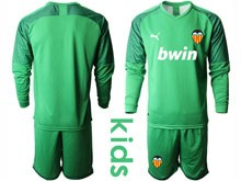 Kids 19-20 Soccer Valencia Cf ( Custom Made ) Green Goalkeeper Long Sleeve Suit Jersey