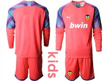 Kids 19-20 Soccer Valencia Cf ( Custom Made ) Pink Goalkeeper Long Sleeve Suit Jersey