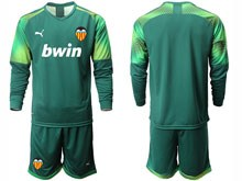 Mens 19-20 Soccer Valencia Cf ( Custom Made ) Dark Green Goalkeeper Long Sleeve Suit Jersey
