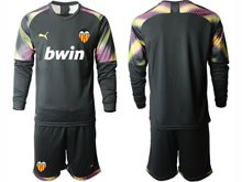 Mens 19-20 Soccer Valencia Cf ( Custom Made ) Black Goalkeeper Long Sleeve Suit Jersey