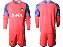 Mens 19-20 Soccer Valencia Cf ( Custom Made ) Pink Goalkeeper Long Sleeve Suit Jersey