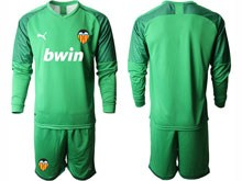 Mens 19-20 Soccer Valencia Cf ( Custom Made ) Green Goalkeeper Long Sleeve Suit Jersey