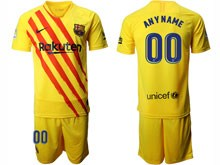 Mens 19-20 Soccer Barcelona Club ( Custom Made ) Yellow The Fourth Away Short Sleeve Suit Jersey