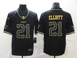 Mens Nfl Dallas Cowboys #21 Ezekiel Elliott Black Retro Golden Edition Vapor Untouchable Limited Jerseys