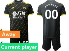 Mens 19-20 Soccer Wolverhampton Wanderers F.c. Club Current Player Black Away Short Sleeve Suit Jersey