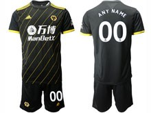 Mens 19-20 Soccer Wolverhampton Wanderers F.c. Club ( Custom Made ) Black Away Short Sleeve Suit Jersey