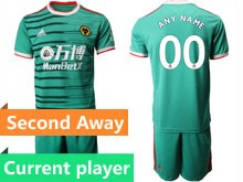 Mens 19-20 Soccer Wolverhampton Wanderers F.c. Club Current Player Green Second Away Short Sleeve Suit Jersey