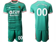 Mens 19-20 Soccer Wolverhampton Wanderers F.c. Club ( Custom Made ) Green Second Away Short Sleeve Suit Jersey