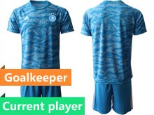 Mens 19-20 Soccer Argentina National Team Current Player Blue Printing Goalkeeper Short Sleeve Suit Jersey