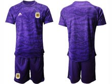 Mens 19-20 Soccer Argentina National Team ( Custom Made ) Purple Goalkeeper Short Sleeve Suit Jersey