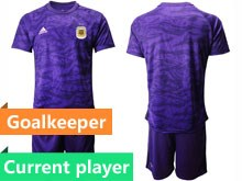 Mens 19-20 Soccer Argentina National Team Current Player Purple Goalkeeper Short Sleeve Suit Jersey
