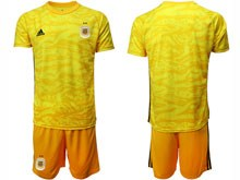 Mens 19-20 Soccer Argentina National Team ( Custom Made ) Yellow Goalkeeper Short Sleeve Suit Jersey