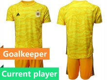 Mens 19-20 Soccer Argentina National Team Current Player Yellow Goalkeeper Short Sleeve Suit Jersey