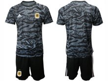 Mens 19-20 Soccer Argentina National Team ( Custom Made ) Black Printing Goalkeeper Short Sleeve Suit Jersey