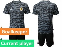 Mens 19-20 Soccer Argentina National Team Current Player Black Printing Goalkeeper Short Sleeve Suit Jersey
