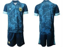 Mens 19-20 Soccer Argentina National Team ( Custom Made ) Navy Away Short Sleeve Suit Jersey