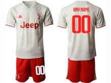 Mens 19-20 Soccer Juventus Club ( Custom Made ) Gray Away Short Sleeve Suit Jersey