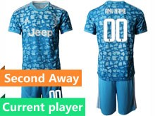 Mens 19-20 Soccer Juventus Club Current Player Blue Printing Second Away Short Sleeve Suit Jersey